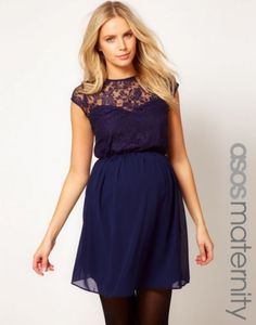 d36def928f2 ASOS Maternity Skater Dress In Lace And Chiffon -- could we dye this brown