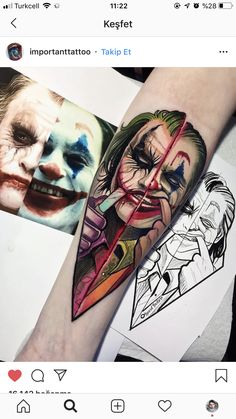 Batman Tattoo, Joker And Harley Tattoo, Harley Tattoos, Joker Tattoos, Hand Tattoos, Body Art Tattoos, Sleeve Tattoos, Joker Pics, Joker Art