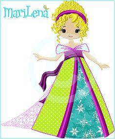 Stickmuster - Stickdatei   ♥  Prinzessin 6 ♥  Appli 13x18 - ein Designerstück von MariLena-Stoffzaubereien bei DaWanda