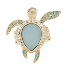 Allegra Turquoise Turtle Ring | SEND THE TREND ❤ liked on Polyvore