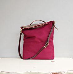 Cranberry Tote Bag - Custom Length Leather Strap  - Burgundy Cross Body - Burgundy  Messenger Bag - Clutch Foldover Bag