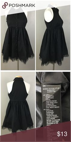 """Forever 21 Black Collared Button Up Tulle Dress Forever 21 Black Collared Button Up Tulle Dress. Size medium. Dress hits about mid thigh length. Thank you for looking at my listing. Please feel free to comment with any questions (no trades/modeling).  •Fabric:  Cotton Blend  •Bust: 34"""" •Length: 32"""" •Condition:  VGUC, no holes or stains.   25% off all Bundles or 3+ items! Reasonable offers welcome.   BIN: JC Forever 21 Dresses Mini"""
