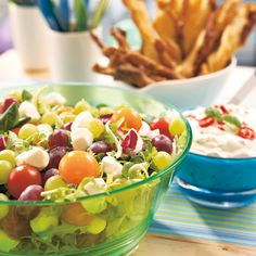 Balela Salad Recipe, Fruit Salad, Cobb Salad, Tzatziki, Gnocchi, Mozzarella, Pasta Salad, Pesto, Salad Recipes