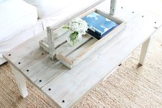 DIY white-washed coffee table top