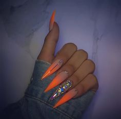 Nails, be inspired by the top nail post plan ref 2659565091 for simply eye catching nails. Nails, be inspired by the top nail post plan ref 2659565091 for simply eye catching nails. Bling Acrylic Nails, Aycrlic Nails, Glam Nails, Best Acrylic Nails, Acrylic Nail Designs, Hair And Nails, Orange Acrylic Nails, Neon Nail Designs, Mauve Nails