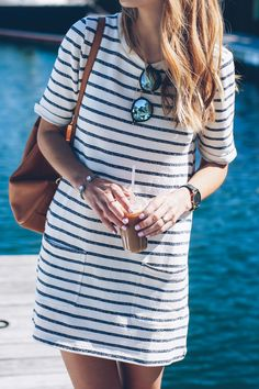 Summer dresses the best striped dress for summer - boutique page Stylish Dresses, Casual Dresses, Casual Outfits, Summer Outfits, Fashion Outfits, Summer Dresses, Dress Fashion, Blue Dresses, Women's Fashion