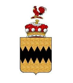 A modern representation of the Arms of Vavasour. Blazon - or, a fess dancetty, sable. Crest - A cock gules.