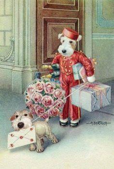 Vintage Card....Wire Fox Terrier