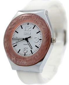PNP Shiny Silver Watchcase Silicone Bela Band Ladies Ženske Fashion Watch FW749D