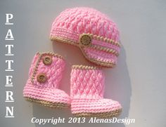 Crochet PATTERN Set Two-Button Baby Booties Baby por AlenasDesign