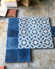 """633 Likes, 14 Comments - Antique and Encaustic Tiles (@jatanainteriors) on Instagram: """"Either or...... Blue sunflower or Urban Night??? #encaustictiles #handmadetiles #tiles #mydesign…"""""""