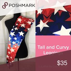 Star Leggings Tall and Curvy lularoe leggings. Fits size 12-22 in women's. Very comfy! If you have never tried lularoe leggings, u have go to buy a pair! Also if you want to join my Facebook group, please let me know! I do live sales and get new inventory frequently! If you see a print u like, buy it immediately because u may never see it again! Lularoe is unique and only makes so many items per print! These are new with detached tag. All lularoe leggings have unattached tags. LuLaRoe Pants…
