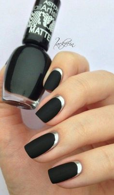 "Love ""Black Matte Effect""with Silver Nails-Stylish Eve"