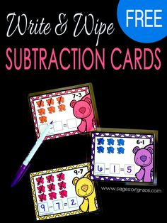 Add some fun to your math centers with these free write and wipe subtraction cards! Preschool, kindergarten, and first grade student will love counting these rainbow bears to solve the subtraction problems. Teaching math will be a blast when you add these cards to your games and activities! Click on the picture to grab your set free! #Rainbows