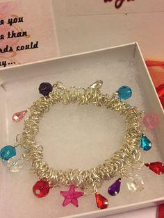 Beaded Silver Stretch Bracelet by dzdartistry on Etsy
