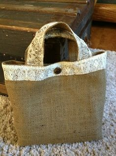 Items similar to Charming burlap and lace handbag on Etsy Hessian Bags, Jute Bags, Homemade Bags, Lace Bag, Burlap Crafts, Patchwork Bags, Denim Bag, Fabric Bags, Purses And Bags