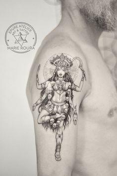 Hindu Tattoos, Symbolic Tattoos, Body Art Tattoos, Small Tattoos, Leg Tattoos, Tatouage Yantra, Yantra Tattoo, Kali Yantra, Tattoo Buddhist