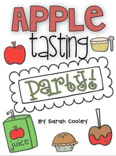"Looking for an exciting way to celebrate Johnny Appleseed's birthday or end a unit study of apples?  Have an apple treat tasting party!  This kit offers ideas for ""applicious"" treats to include in your apple tasting party. It also comes with a parent letter, favorite apple treat pictograph pieces {in full color OR black and white}, ""Good Apple or Rotten Apple"" printables, and an apple adjectives printable!"