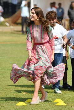 Kate Middleton enjoyed showing off her sporty side once again as she played cricket during the second engagement of the official royal tour of India and Bhutan.