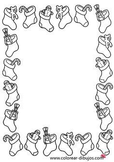 dibujo de bordes de navidad con calcetines con juguetes de navidad para colorear e imprimir