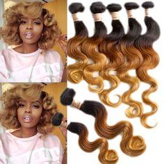 """Hot 4Bundles Ombre Human Brazilian Hair Extension 16""""18""""20""""22"""" 50g/Bundles Best! #wigiss #HairExtension"""