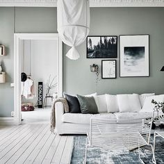 The Green Grey Walls Combined With The White Hard Wood Flooring Give The  Home A Very Fresh Look And The Furniture And Accessories Are Chosen Very ... Part 89