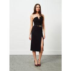 Miss Selfridge Bandeau Tux Belted Midi Dress ($85) ❤ liked on Polyvore featuring dresses, black, miss selfridge, black tuxedo, belted dress, miss selfridge dress and black bandeau dress