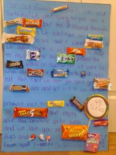 'For our favorite (smarty) pants on your birthday! We were going to give you a (whopping) (100 grand) but the $ slipped through our (butterfingers). We didn't have an (extra) (whatchamacallit) to sell and it wasn't (payday) :( we didn't think a pet (kitkat), a trip to new (york) or an (orbit) around the (milkyway) would be appropriate. We would like to wish you (mounds) of (joy) both (now & later) as you eat this card