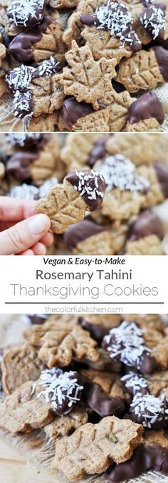 Low Unwanted Fat Cooking For Weightloss Rosemary-Tahini Thanksgiving Cookies Vegan Easy-To-Make These Adorable And Delicious Vegan Cookies Are The Perfect Thanksgiving Dessert To Add To Your Feast The Colorful Kitchen Vegan Dessert Recipes, Vegan Recipes Easy, Cookie Recipes, Kid Desserts, Free Recipes, Thanksgiving Cookies, Thanksgiving Recipes, Holi, Chocolate Dipped Cookies