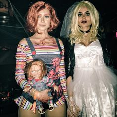 Horror Movie Costumes, Horror Halloween Costumes, Halloween Carnival, Halloween Cosplay, Halloween Outfits, Halloween Ideas, Chucky And Tiffany Costume, Chucky Doll Costume, Bride Of Chucky Costume