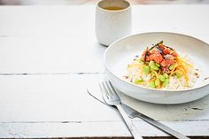 This salmon and green tea poke ('poh-ke') bowl is a true hero dish. Don't panic about the number of ingredients – it's more about 'throwing it together' than cooking.
