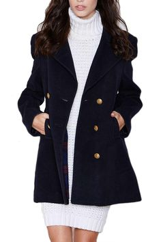 Navy Blue Ladies Charming Big Turndown Collar Pea Coat on sale at reasonable prices, buy cheap Navy Blue Ladies Charming Big Turndown Collar Pea Coat online at PinkQueen.com now!