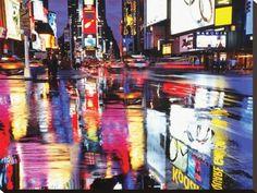 Times Square, cores Impressão em tela esticada