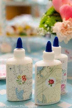 tinkered treasures blog:  would be great to make up some pretty glue bottles for crafting kits!
