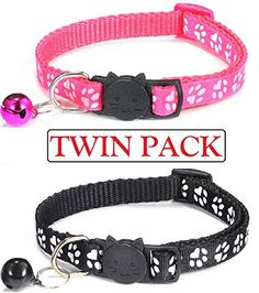 Twin Pack Cat Collar with Bell, Adjustable & Suitable for All Domestic Cats - Stylish Paw Print Design Pet Collars (Red & Blue OR Rose & Black) – NEW DESIGN SAFETY QUICK RELEASE BREAKAWAY COLLAR