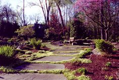 Natural Landscape With Natural Stepping Stone Pathway in Bergen County, NJ: Natural Landscaping With Natural Garden Pathway in Saddle River , Bergen County , NJ. Stepping Stone Pathway, Stone Retaining Wall, Retaining Walls, Landscape Photos, Landscape Design, Natural Landscaping, Natural Garden, Beautiful Rocks, Pathways