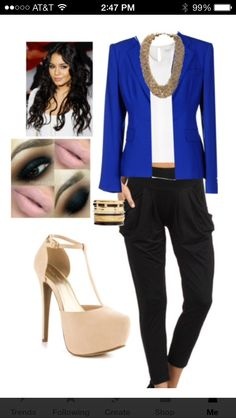Black jogger pants and blue blazer outfit