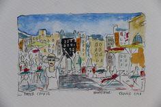 Watercolour Honfleur France 2019 #PieterCronjeArt #France #Honfluer #BusPaintings Honfleur, France, Watercolour, Places, Painting, Art, Pen And Wash, Art Background, Watercolor Painting
