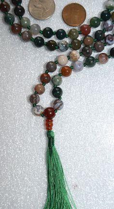 Indian Agate Hand Knotted 108 Mala Beads Necklace -Energized Karma, Ni – AwakenYourKundalini