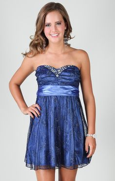 strapless dress with satin tie waist and glitter overlay