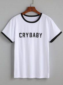 White Round Neck Letter Print T-shirt