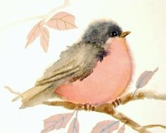 Pastel Pink Bird Print Watercolor Painting by judithbelloriginals