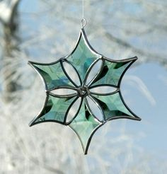 3D Green Beveled Stained Glass Snowflake Suncatcher Ornament with Silver Lines on Etsy, $50.00
