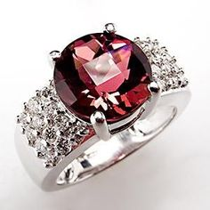 3.5 Carat Rubellite Tourmaline Cocktail #Ring w/ #Diamond Accents Checker Top 14K White Gold.
