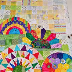 Snippets 'n' Scraps: Tips for My Small World Quilt (Part 3 - The Rainbow, Orange Peels and Clamshells)