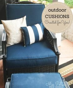 Don't keep living with tired cushions in your outdoor space! Let's refresh your outdoor space together. Miss Polly's Piece Goods Glider Rocker Cushions, Rocking Chair Cushions, Outdoor Chair Cushions, Bench Cushions, Foam Cushions, Patio Cushion Covers, Box Cushion, Window Seat Cushions, Custom Cushions