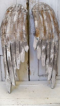 Large gray wings wooden wall sculpture by AnitaSperoDesign on Etsy, $195.00