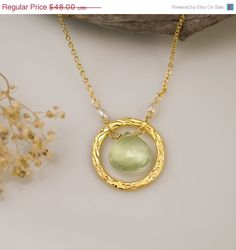 Hey, I found this really awesome Etsy listing at https://www.etsy.com/listing/73594569/summer-sale-prehnite-stone-necklace-22k