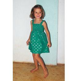 Robe courte à bretelles, turquoise et argent, enfant 4-5 ans : Mode filles par aummade-enfant