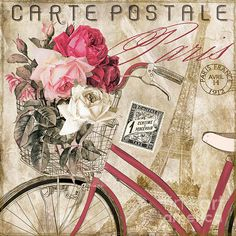 Pink bicycle, Paris, Pink & White roses, stamps, postmarks, Eiffel Tower.